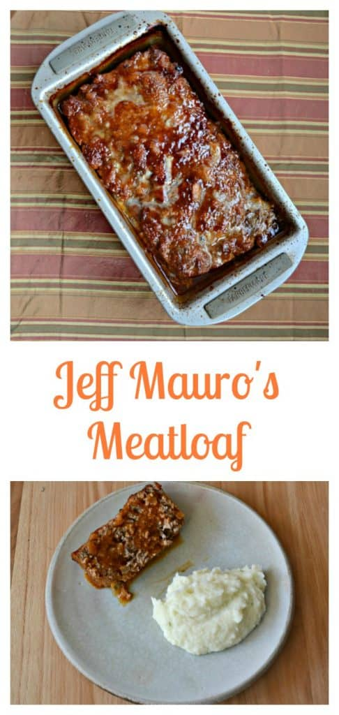 Jeff Mauro's Meatloaf made with 2 types of meat and a tasty BBQ sauce on top.