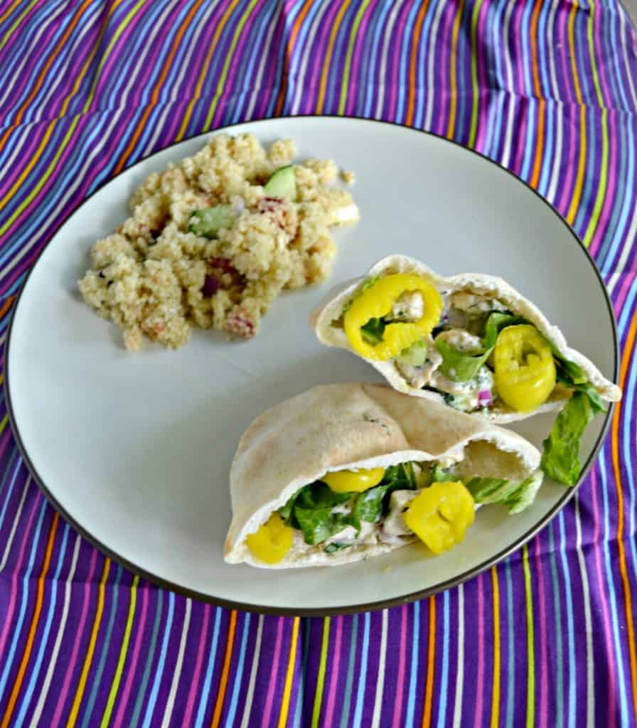 Greek Chicken Salad Pitas with Yogurt Ranch Dressing are perfect for lunch or dinner