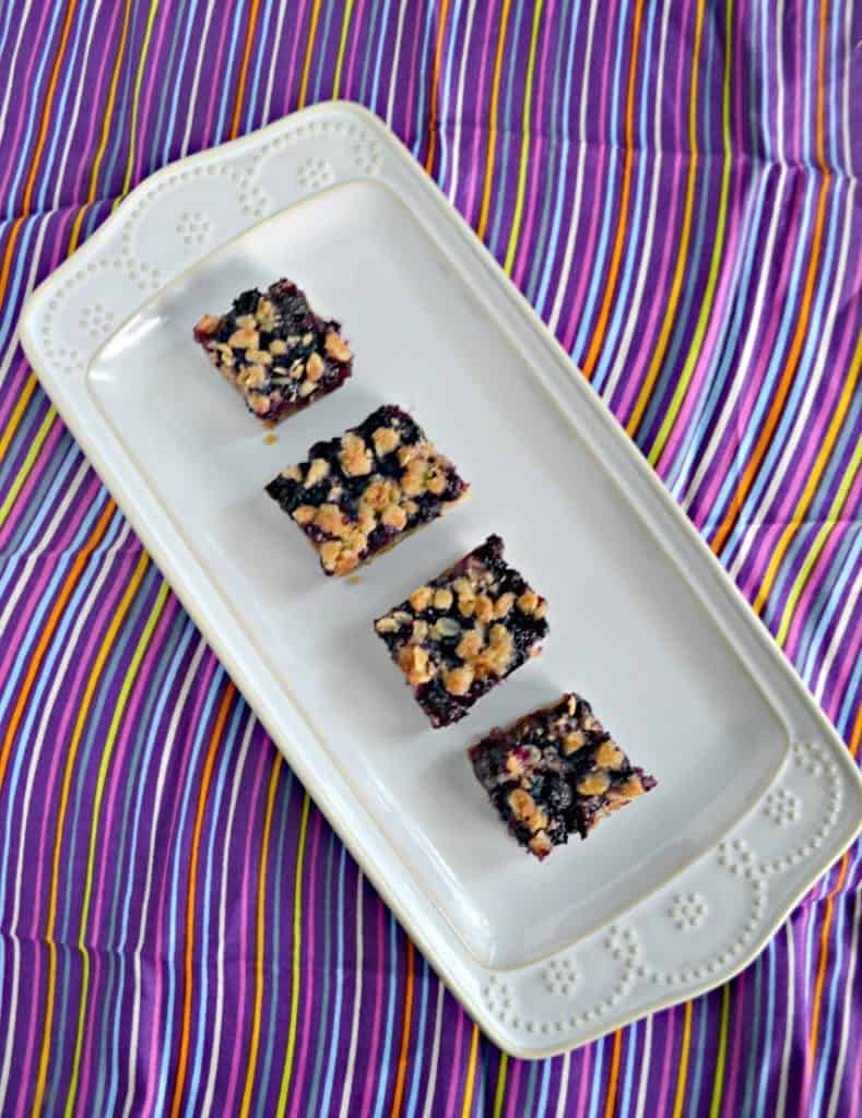 Blueberry Oatmeal Bars can be eaten for breakfast, snack, or dessert!
