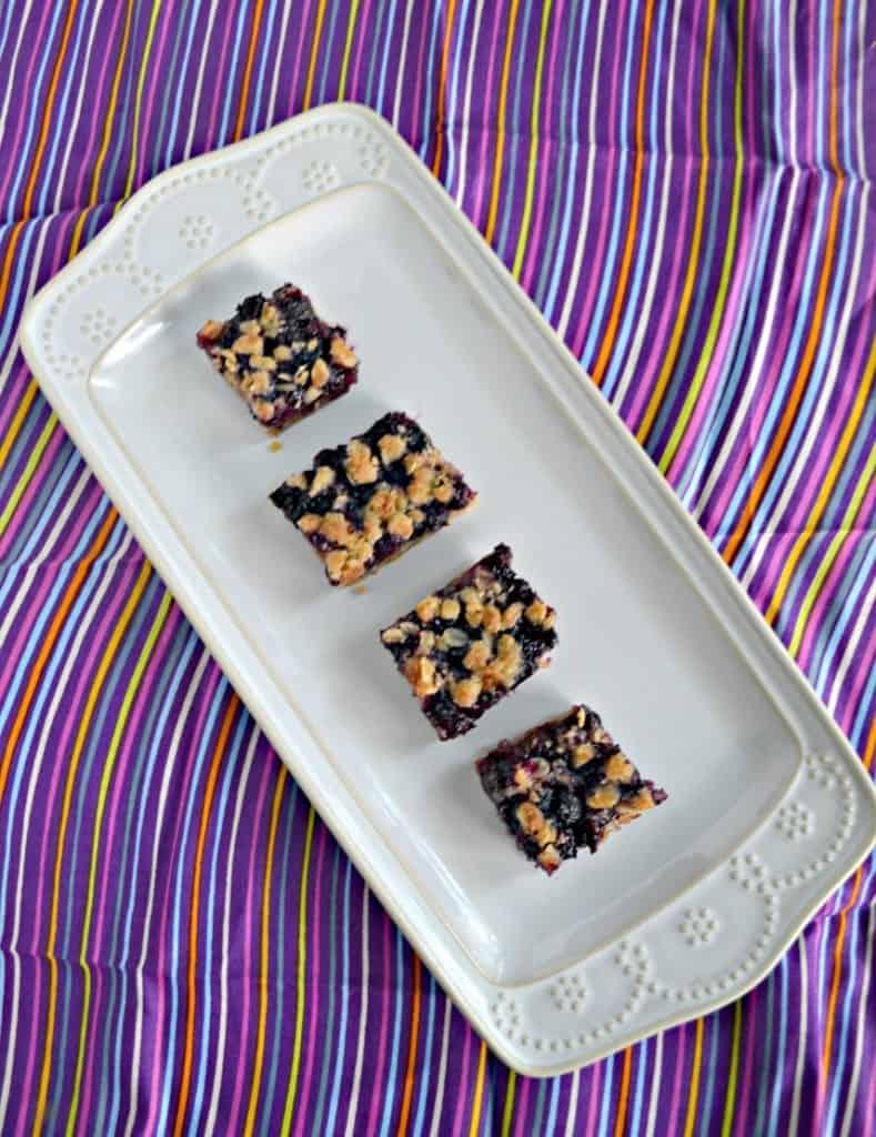 Blueberry Oatmeal Bars can be eaten for breakfast, snack, or dessert!