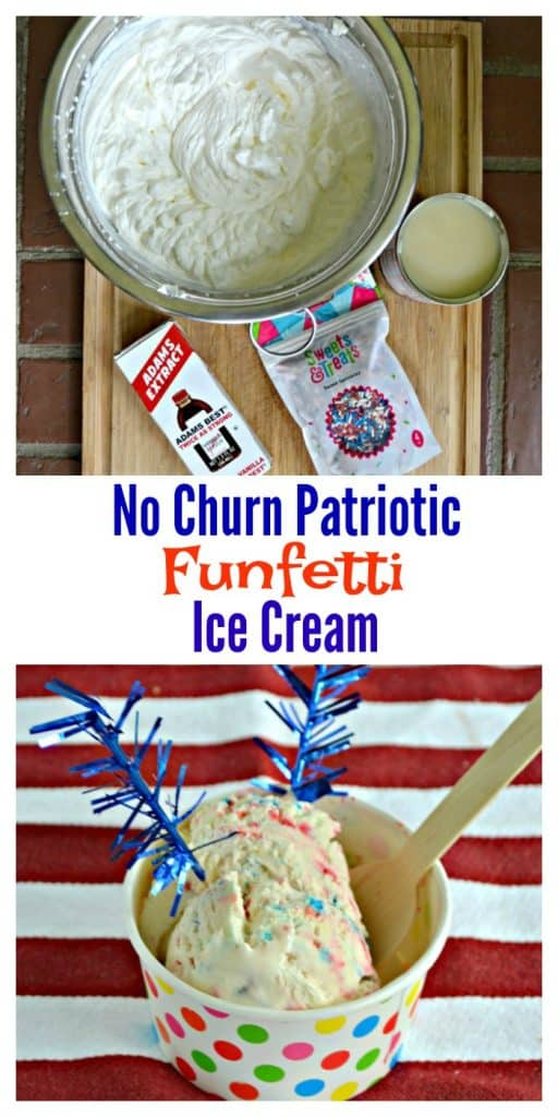 Grab a spoon and dig into No Churn Patriotic Funfetti Ice Cream