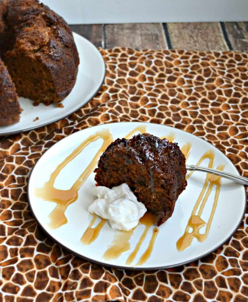 Tasty Ginger Cake topped with caramel and whipped cream