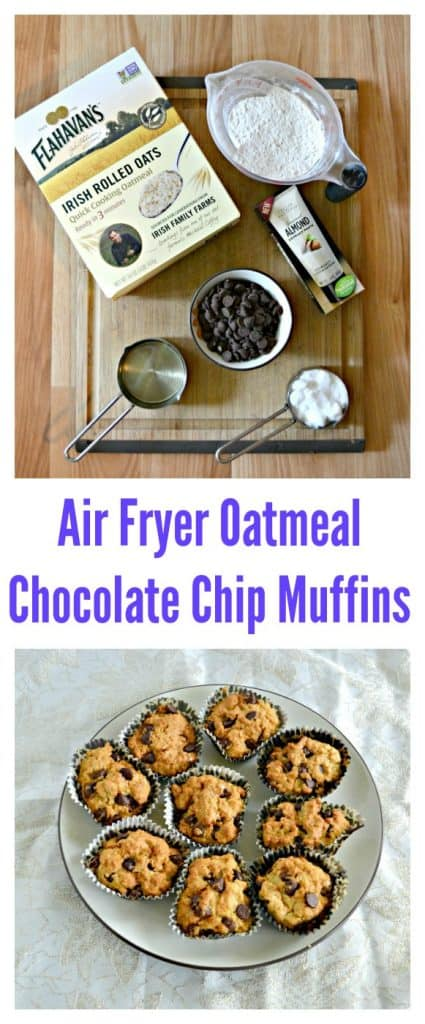 It's easy to make Air Fryer Oatmeal Chocolate Chip Muffins!