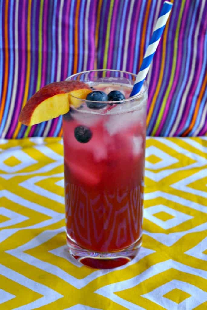 Sit by the pool and sip on this Blueberry Peach Lemonade