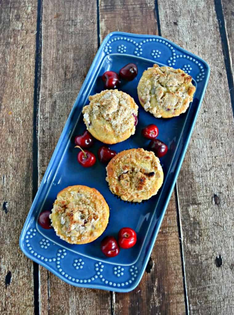 Fresh Cherry Muffins with Crumble Topping