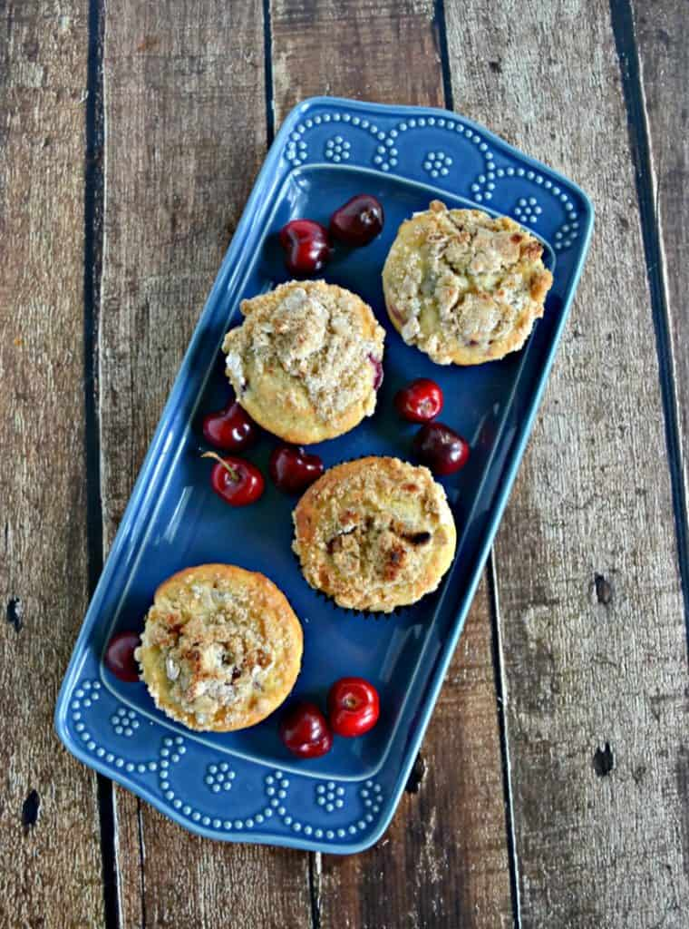 Kids will love getting one of these Cherry Muffins with Crumble Topping in their lunchbox!