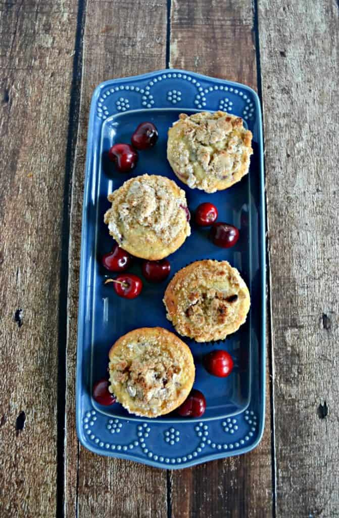 Grab yourself some cherries and make these Cherry Muffins with Crumble Topping