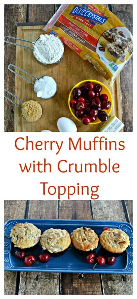 Everything you need to make fresh Cherry Muffins with Crumble Topping