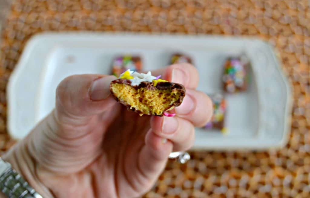 Honecomb Candy is fluffy, tastes like caramel, and is covered in chocolate