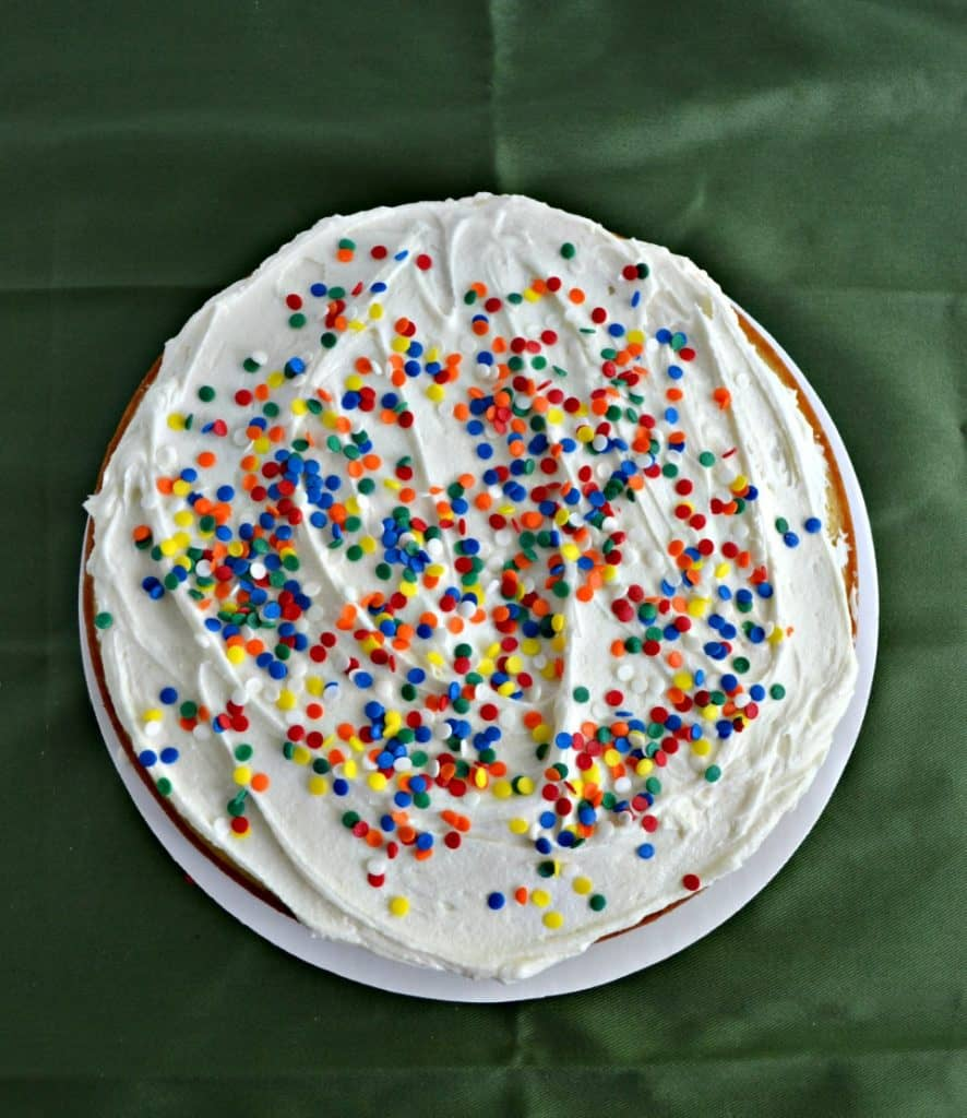 Sprinkles topping buttercream frosting make an awesome cake filling