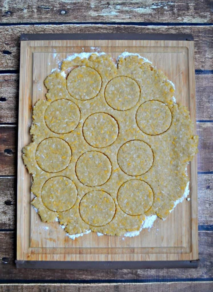 You can use any shape cookie or biscuit cutteer to make these Cheddar Herb Biscuit Crackers