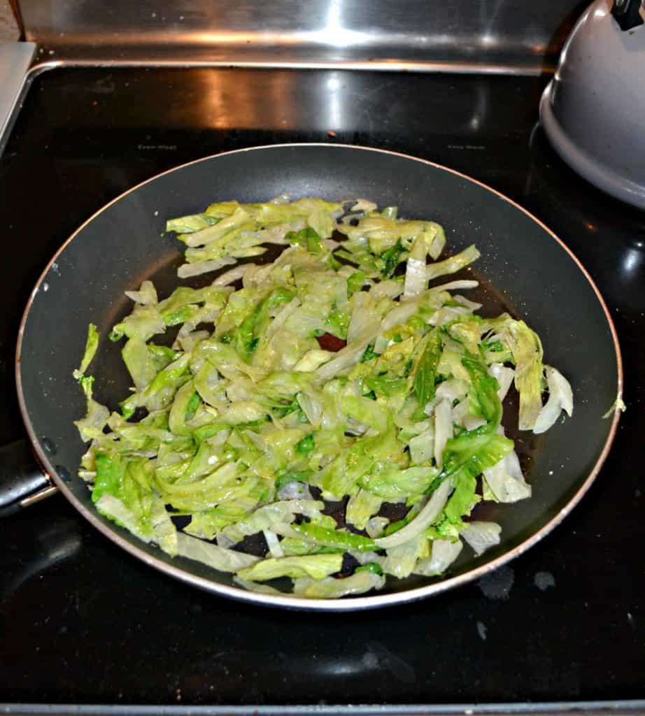 Stir Fried Salt & Pepper Lettuce is a great addition to chicken stir fry!