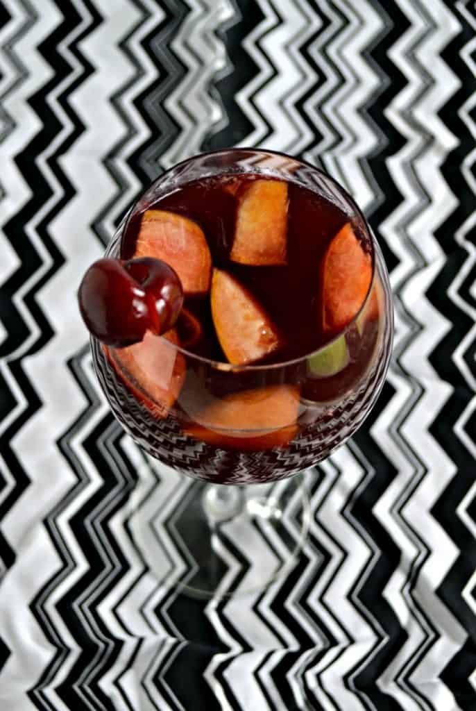 Red wine and stone fruit make for a delicoius Peach Cherry sangria