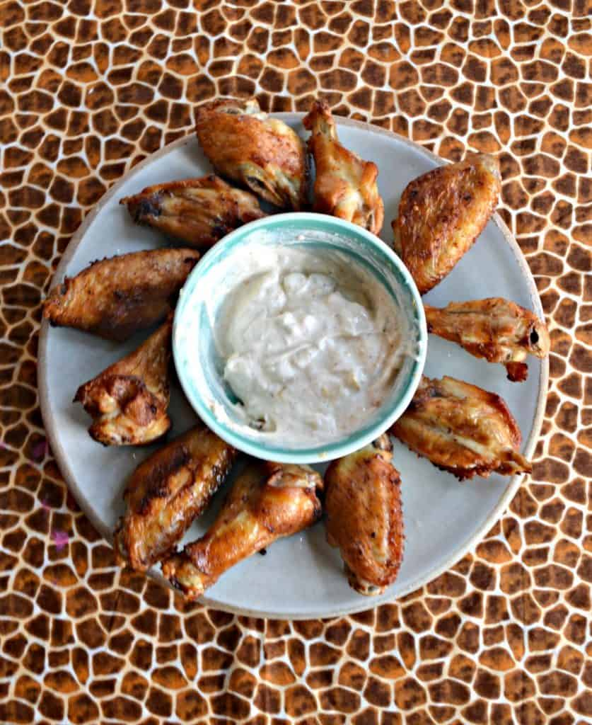 Crispy Air Fryer Salt and Vinegar Wings with Sour Cream and Onion Sauce!
