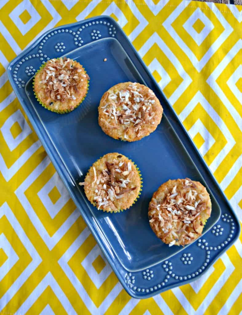 I can't get enough of these tropical Banana, Papaya, and Passion Fruit Muffins