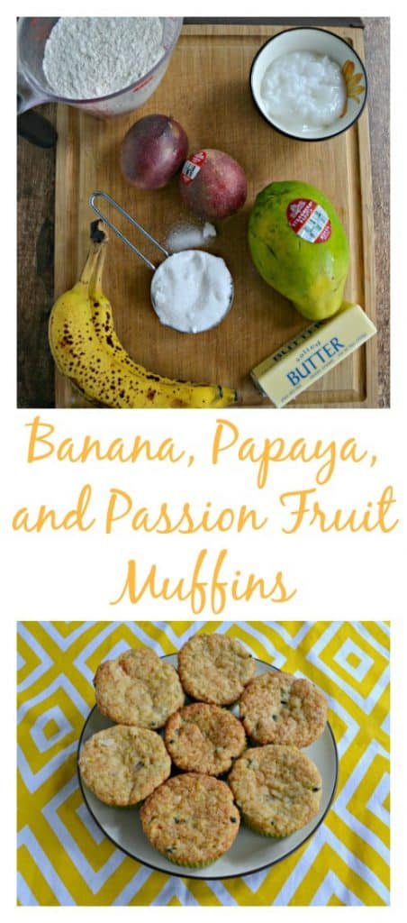 Grab your favorite tropical fruits to make these Banana, Papaya, and Passion Fruit Muffins!