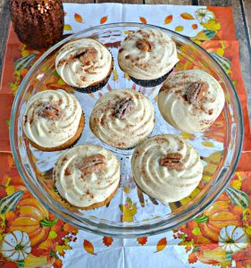 Bourbon Pecan Pie Coffee Cupcakes with Caramel Frosting