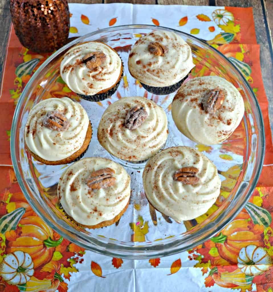 Take a bit out of these Bourbon Pecan Pie Cupcakes with Caaramel Frosting