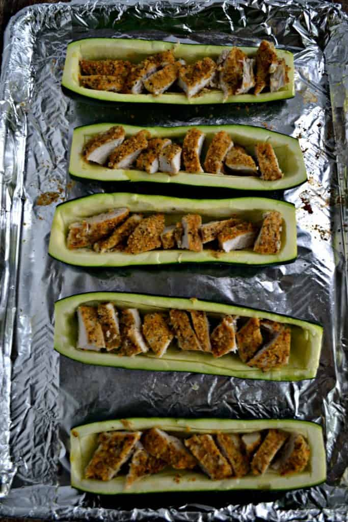Sheet Pan Chicken Parmesan Stuffed Zucchini is ready in just 30 minutes
