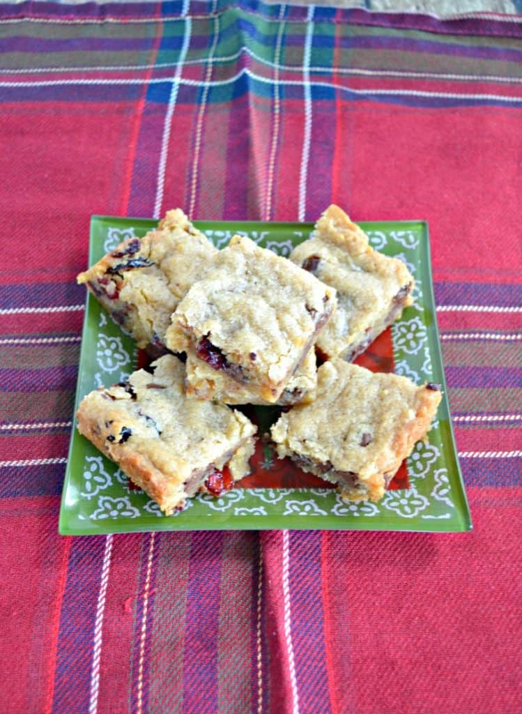 Soft and delicious blondies studded with chocolate and cranberries