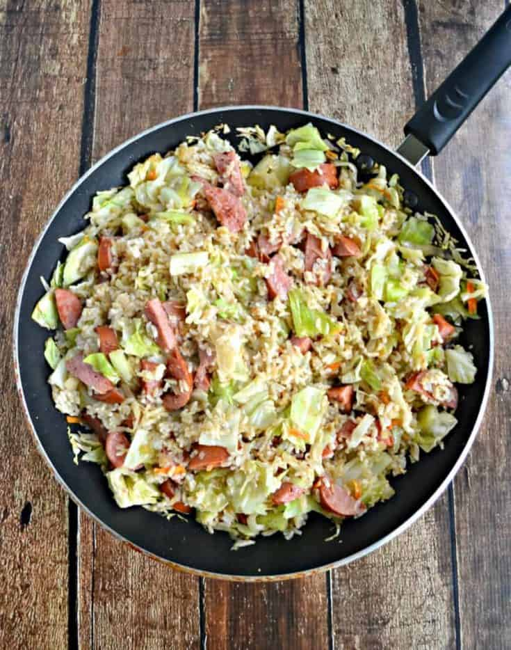 Kielbasa and Cabbage Skillet with Buttered Rice: A $5 Meal