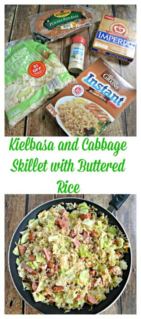 Budget Friendly Kielbasa and Cabbage Skillet with Buttered Rice is a hearty and balance budget meal coming in at just $5 for a family of 4.
