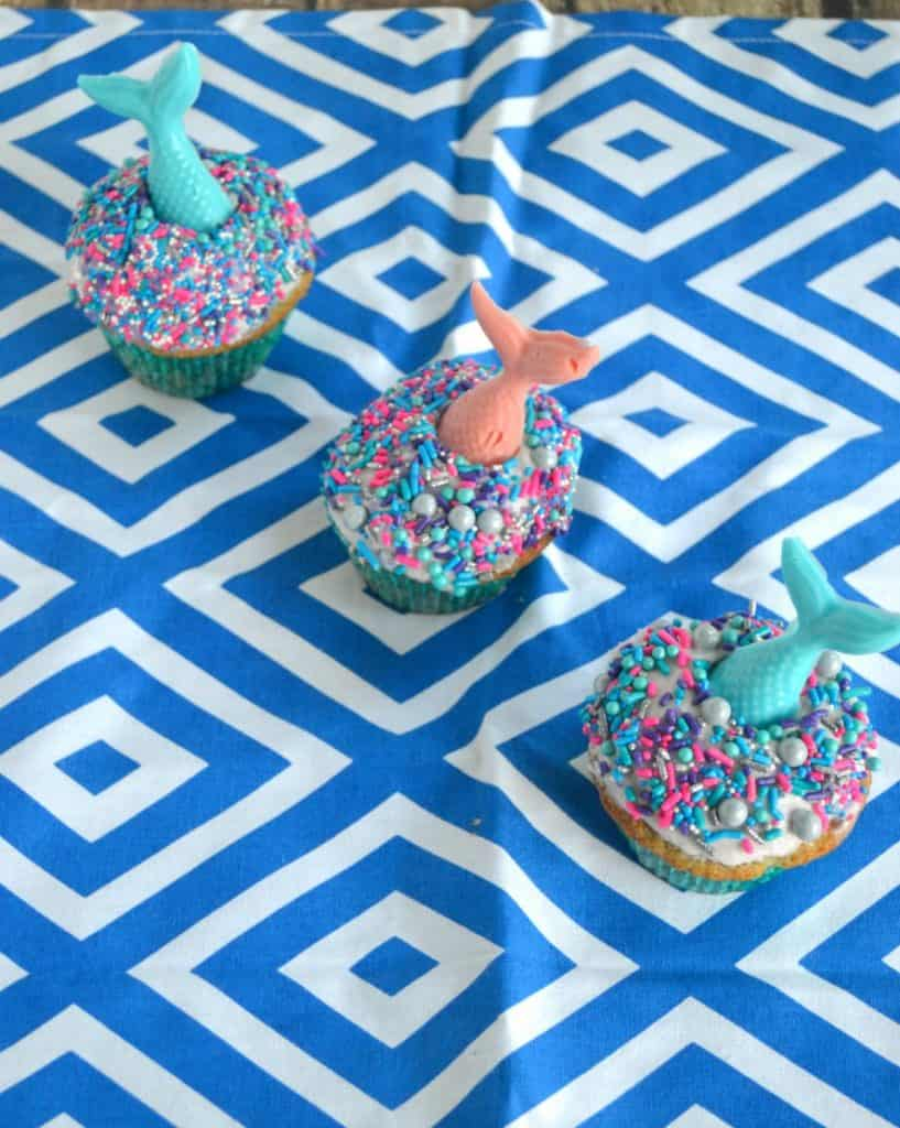 What kid wouldn't want to bite into one of these super fun Lemon Mermaid Cupcakes??