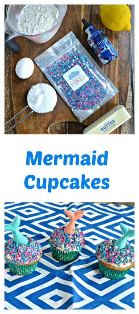 It's easy to make Lemon Mermaid Cupcakes and kids can help you finish them off by decorating them!