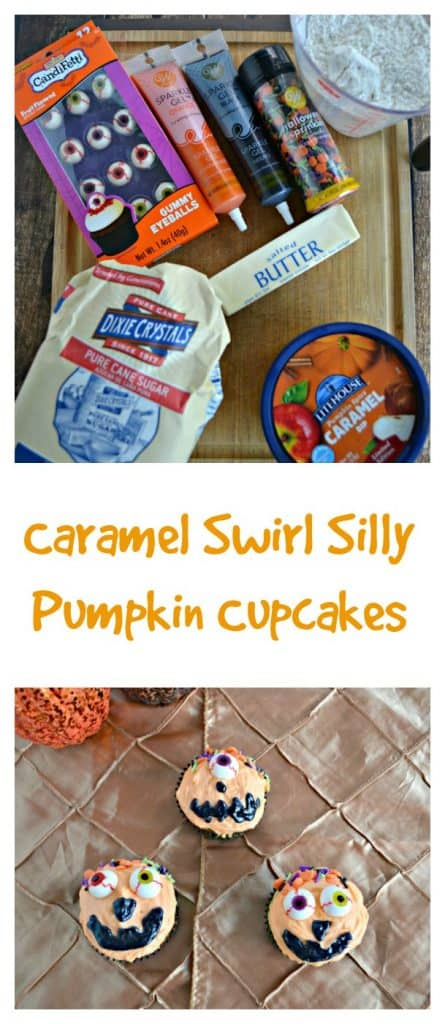 It's easy to make these fun Caramel Swirl Silly Pumpkin Cupcakes