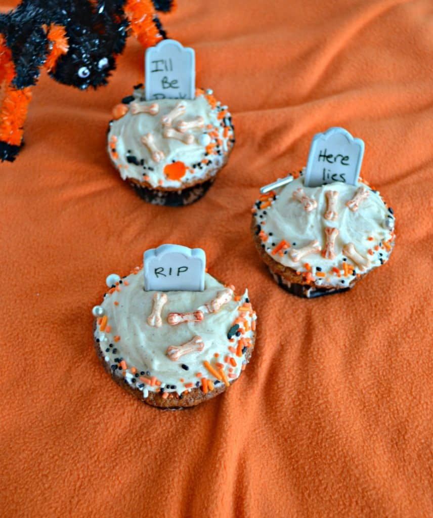 Make these sppoky yet fun Spiced Caramel Halloween Graveyard Cupcakes