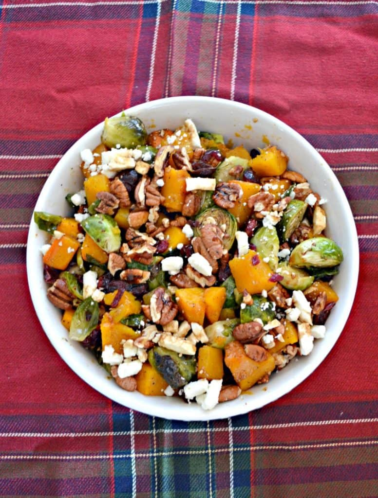 This colorful Sweet and Spicy Brussels Sprouts and Butternut Squash makes the perfect pairing