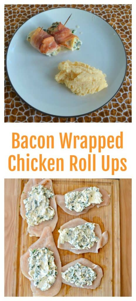 Pin Image: Two Chicken roll ups with bacon on the outside edge with potatoes on the side, flat pieces of chicken topped with a spinach cream cheese mixture, text overlay.