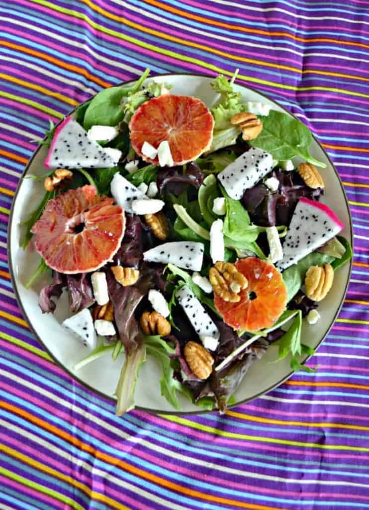 Try this awesome Dragon Fruit and Blood Orange Salad with Pecans