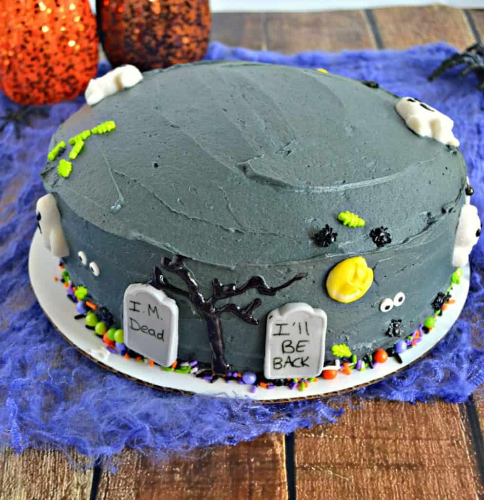 It's so much fun decorating the sides of this Spooky Graveyard Layer Cake