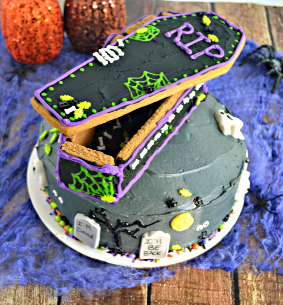 Top your Spooky Graveyard Layer Cake with a DIY Gingerbread Coffin!