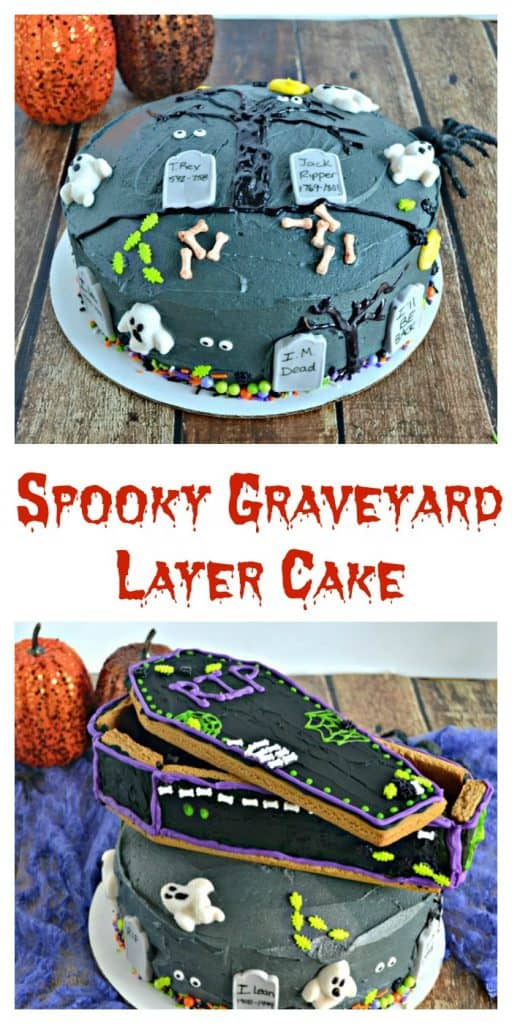 This Spooky Graveyard Layer Cake has two different designs you can put on the top! Choose from a gingerbread coffin or a graveyard scene