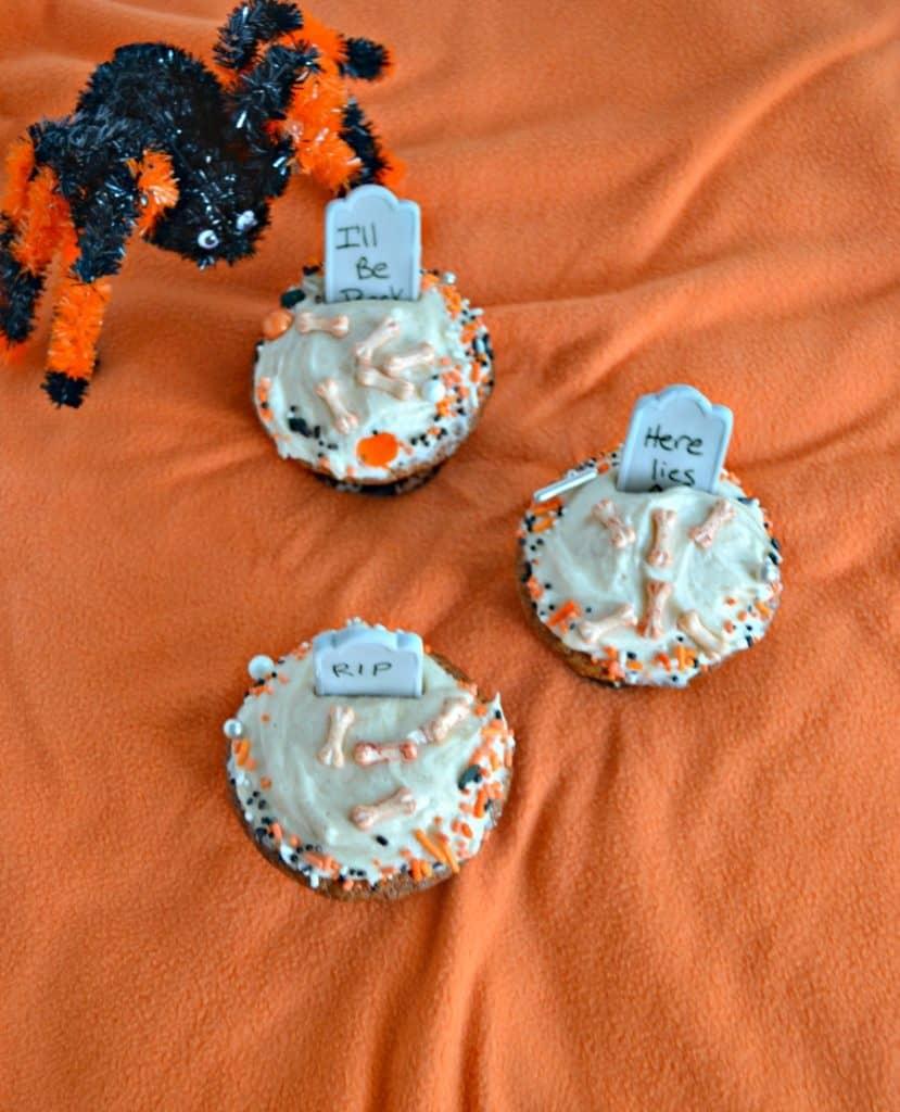 Spiced Caramel Halloween Graveyard Cupcakes