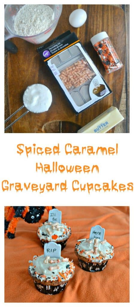 Take a bite of these awesome Spiced Caramel Halloween Graveyard Cupcakes