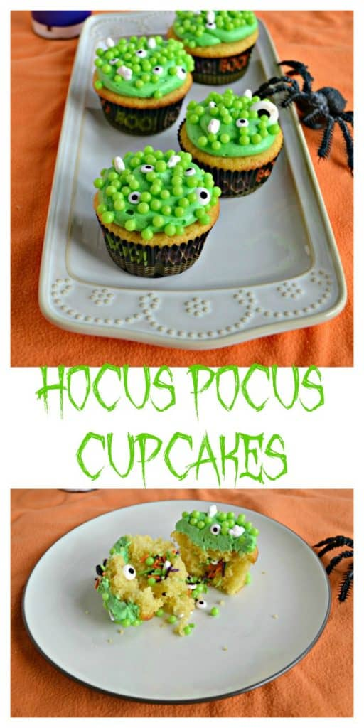 Kids and adults can enjoy these Hocus Pocus Cupcakes filled with witches brew bubbles, ghosts, and eyeballs!