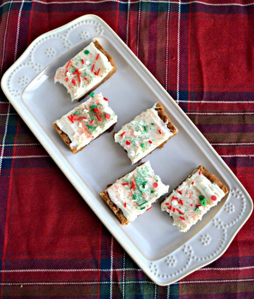 Gingerbread Bars with Cream Cheese Frosting and sprinkles