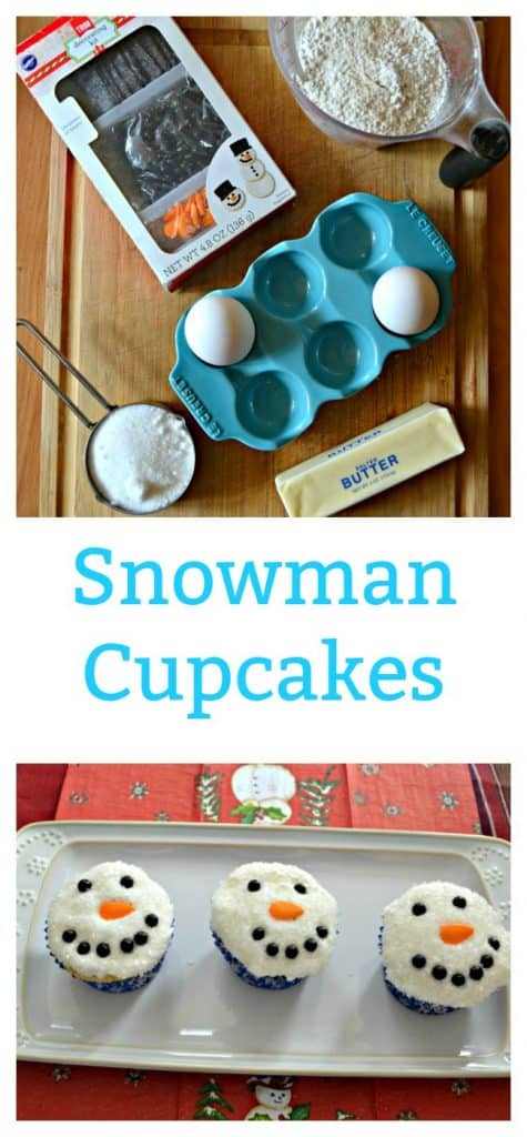Everything you need to make Snowman Cupcakes