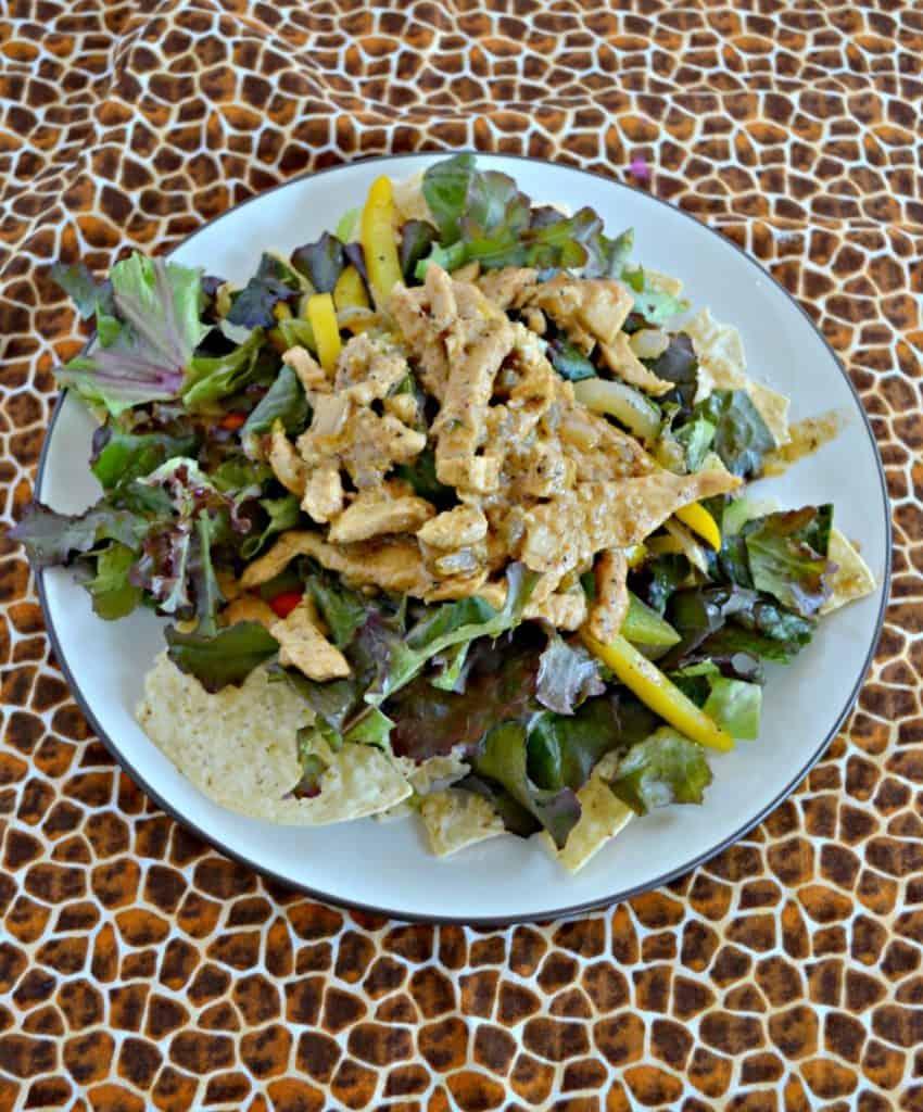 Chicken Fajita Salad with Queso