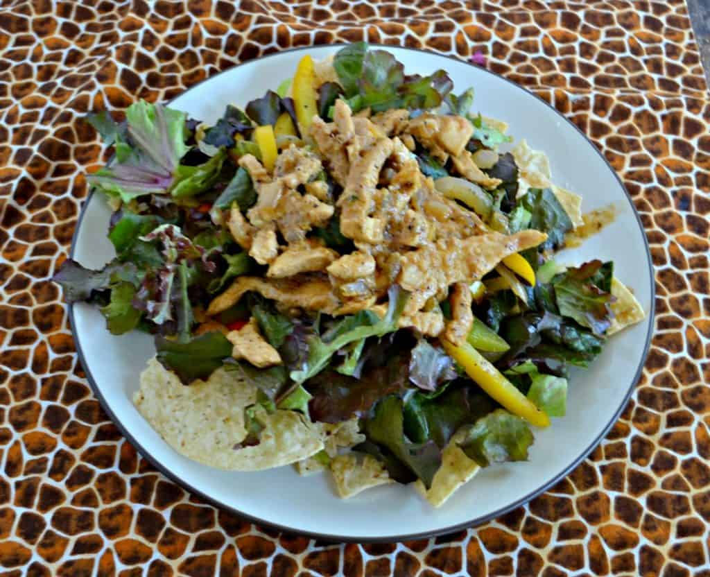 Grab a fork and dig into Chicken Fajita Salads with Queso