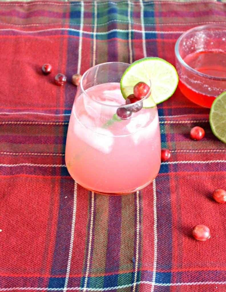 Christmas Cranberry Cocktail topped with lime