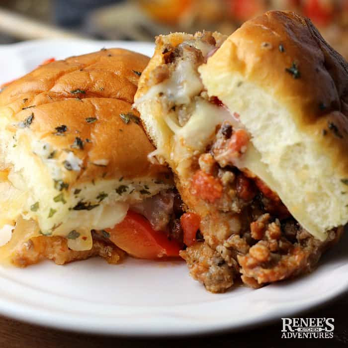 Sausage and Peppers Hawaiian Roll Sliders