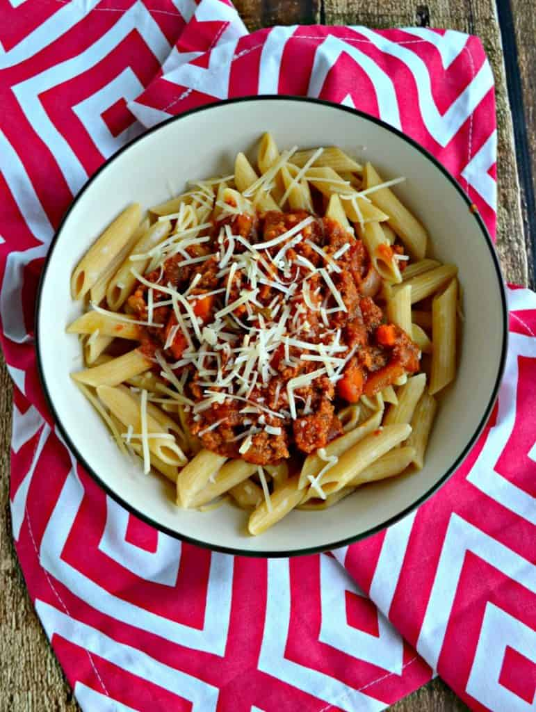 A bowl of Slow Cooker Bolognese