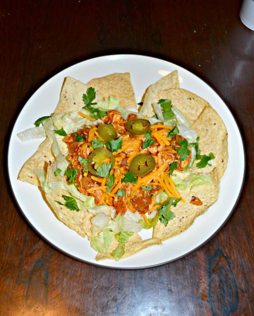 Chicken Enchilada Bowls with tortilla chips