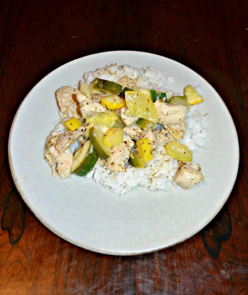 Skillet Lemon Parmesan Chicken with Zucchini and Squash over rice