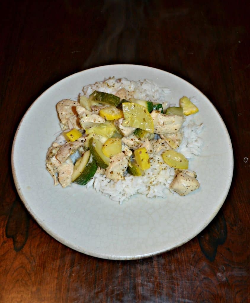 Healthy Skillet Lemon Parmesan Chicken with Zucchini and Squash