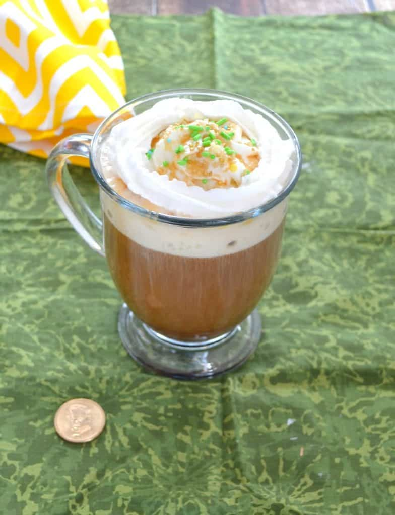 Salted Caramel Irish Coffee topped with whipped cream